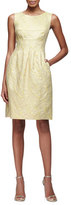 Lela Rose Felicia Classic Sparkle Tweed Sheath Dress, Citrine