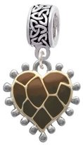 Delight Beads Two Tone Enamel Giraffe Print Heart Celtic Knot Charm Bead