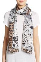 Roberto Cavalli Silk Splatter Paint & Leopard-Print Patchwork Scarf