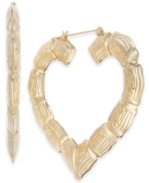 "Thalia Sodi Gold-Tone Bamboo Heart Extra Large 2.5"" Large Hoop Earrings, Created for Macy's"