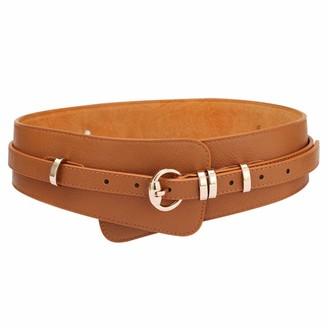 ICSTH Womens Obi Belt Vintage Leather + Genuine Leather Elastic Waist Belt Fashion Wide Belts - Brown - 102 cm