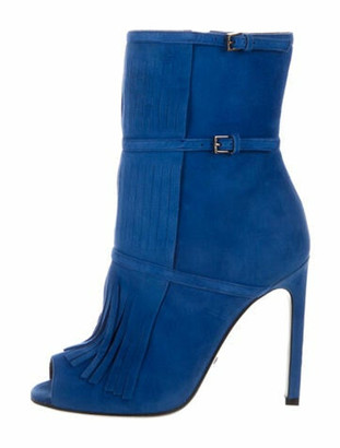 Gucci Suede Fringe Trim Accent Boots w/ Tags Blue