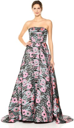 Mac Duggal Womens Crayon Floral Print Gown