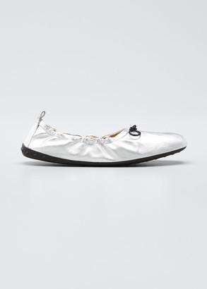 Tod's Laccetto Metallic Leather Ballerina Flats