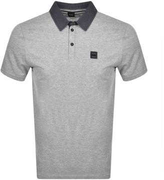 Boss Casual BOSS PDenim Short Sleeved Polo T Shirt Grey