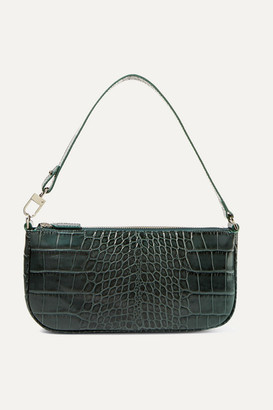 BY FAR Rachel Croc-effect Leather Shoulder Bag - Green