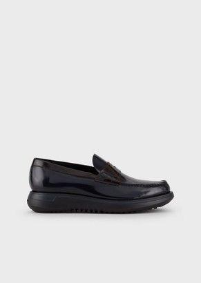 Giorgio Armani Moccasins In Aged-Effect Leather With High Sole