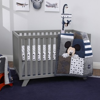 NoJo Disney's Mickey Mouse Hello World Denim/Star/Icon 4 Piece Crib Bedding Set