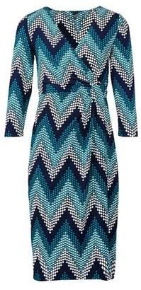 Dorothy Perkins Womens *Izabel London Teal Chevron Print Wrap Dress