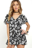 LuLu*s Intricacies Black and White Floral Print Romper