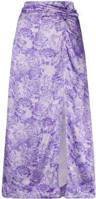 Ganni Rose Print Slip Skirt