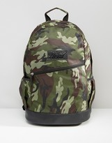 Heist Khaki Camo Backpack With Leather Look Trims