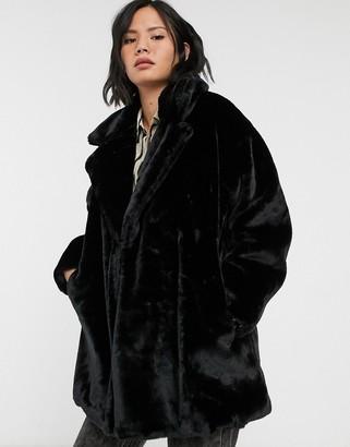 Monki faux fur shawl collar coat-Black