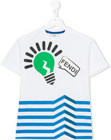 Fendi lightbulb striped T-shirt - kids - Cotton/Spandex/Elastane - 4 yrs