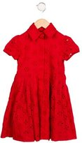 Oscar de la Renta Girls' Eyelet Pleated Dress