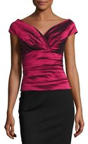 Rickie Freeman For Teri Jon Cap-Sleeve Tiered Stretch Satin Top, Red