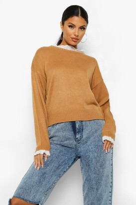 boohoo Lace Detail Crew Neck Jumper