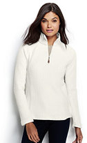 Lands' End Women's Petite Herringbone Fleece Half-zip-Ivory