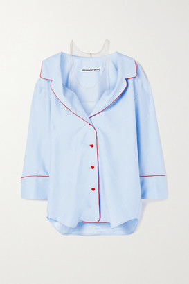 Alexander Wang Cold-shoulder Silk-jacquard And Stretch-tulle Shirt - Light blue