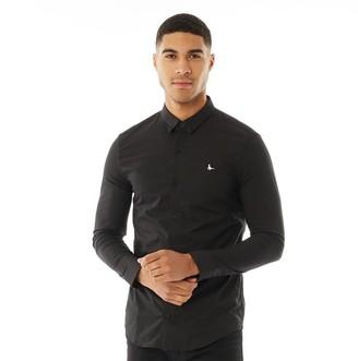 Jack Wills Mens Hinton Stretch Skinny Fit Long Sleeve Shirt Black