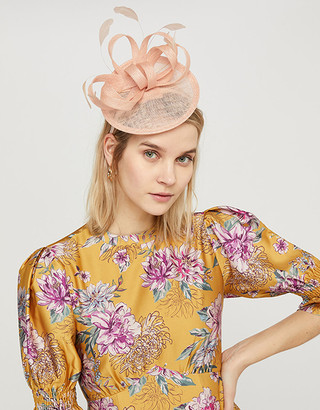 Monsoon Malin Bow Disc Fascinator with Feathers Pink