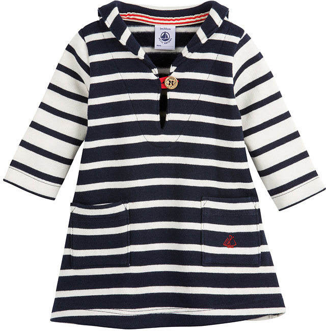 Petit Bateau Baby Girl Sailor Striped Dress In Brushed Heavy Jersey