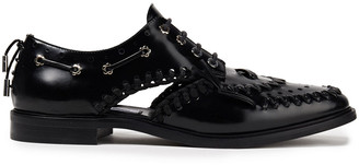 McQ Implode Cutout Whipstitched Glossed-leather Brogues