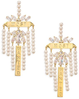 Fallon Goldtone Faux-Pearl & Crystal Chandelier Earrings