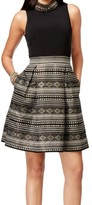 Vince Camuto Black Metallic Gold Print Womens 10 Embellished Dress