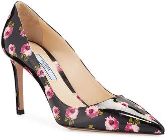 Prada Flower-Print Patent Leather Pumps