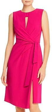 Paule Ka Tie Detail Crepe Satin Dress