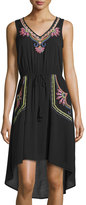 Neiman Marcus Sleeveless Embroidered High-Low Dress, Black/Neon