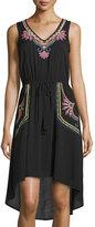 Neiman Marcus Sleeveless Embroidered High-Low Dress, Black/Neon