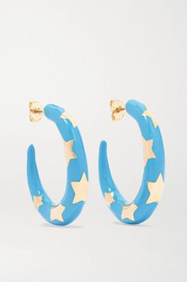Alison Lou Etoile 14-karat Gold And Enamel Hoop Earrings - one size