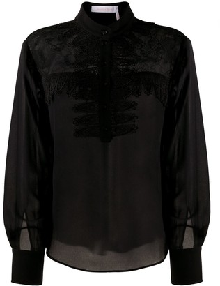See by Chloe Raschel Lace-Yoke Blouse