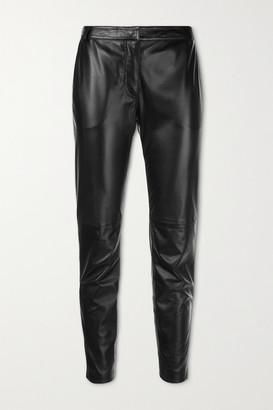 Altuzarra Henri Cropped Leather Slim-leg Pants - Black