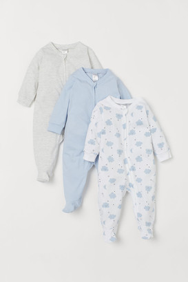 H&M 3-pack Jumpsuits with Zipper - Blue