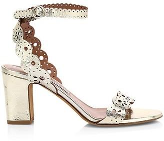 Tabitha Simmons Bobbin Laser Cut Metallic Leather Sandals