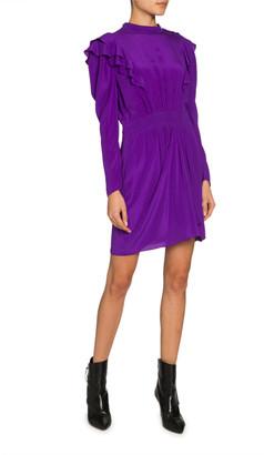 Etoile Isabel Marant Yoana Long-Sleeve Ruffle Short Dress