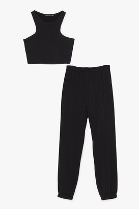 Nasty Gal Womens Run That Back Racer Top and Joggers Set - Black - 6