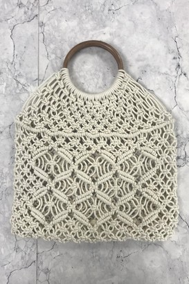 Orelia Cream Woven Wood Handle Tote Bag