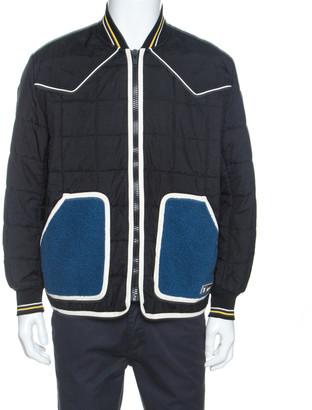 Givenchy Black Contrast Pocket Detail Quilted Bomber Jacket L