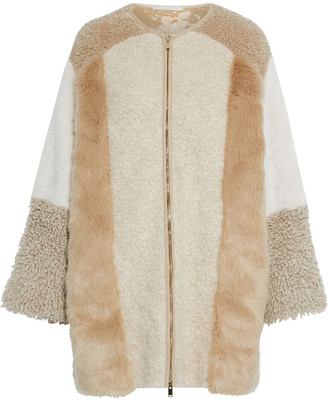 Stella McCartney Patchwork Faux Fur And Alpaca-blend Coat