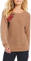 I.N. Studio Crew Neck Floral Embroidered Sweater Pullover