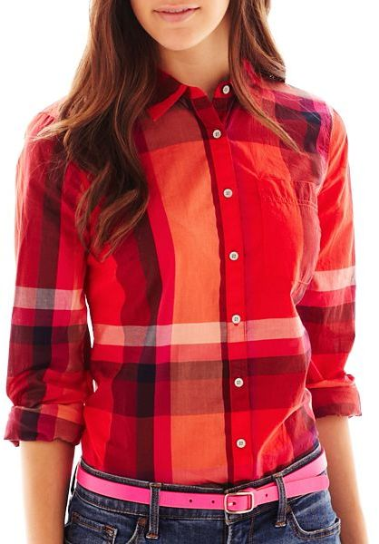 JCPenney jcp Print Button-Front Long-Sleeve Shirt