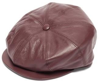 Gabriela Hearst Tremelo Leather Newsboy Cap - Burgundy