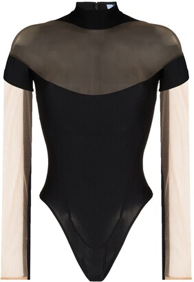 Thierry Mugler Sheer Panel Bodysuit