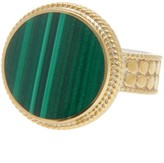 Anna Beck 18K Gold Plated Sterling Silver Round Malachite Stone Ring