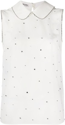 Miu Miu Crystal Embellished Sleeveless Blouse
