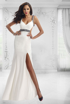 Janique - Long Beaded Strap Stretch Crepe With Open Back Gown W1008